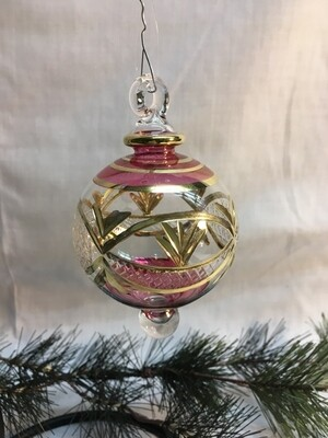 Egyptian Glass Christmas Ornament - Red - handmade in Egypt