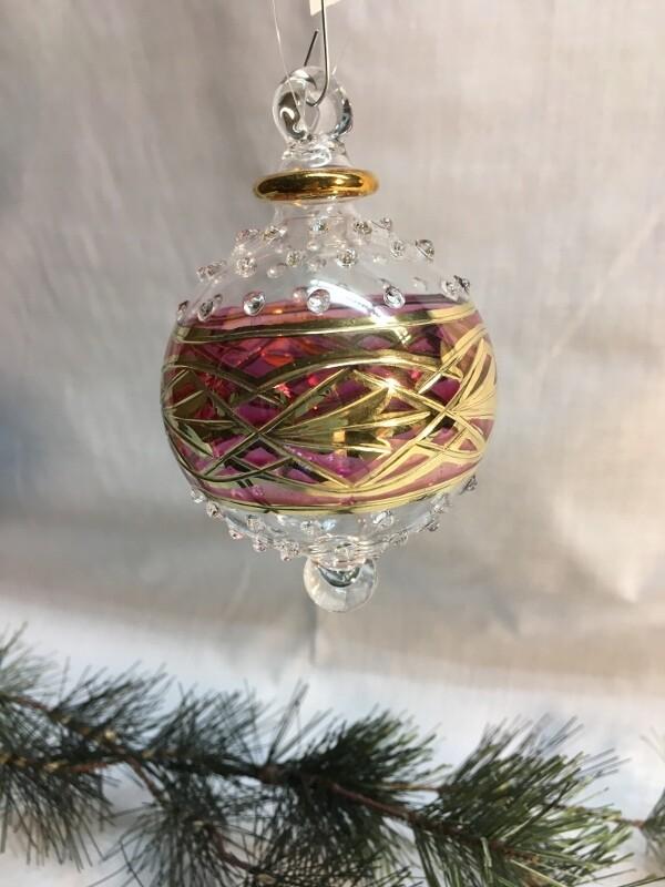 Egyptian Glass Christmas Ornament - Red glass Ball - handmade in Egypt