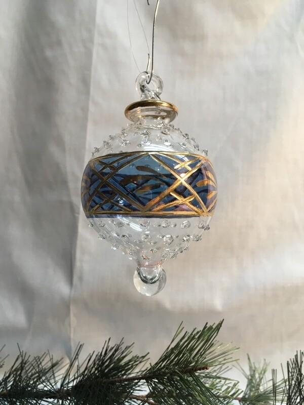 Egyptian Glass Christmas Ornament - Blue glass Ball - handmade in Egypt