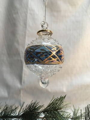 Egyptian Glass Christmas Ornament - Blue glass Ball - handmade in Egypt