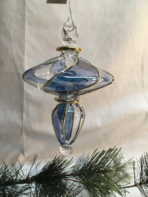Egyptian Glass Christmas Ornament - Spinner with gold and blue stripes - handmade in Egypt