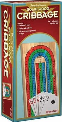 Cribbage - Wooden Folding Game Board - Includes Deck of Cards