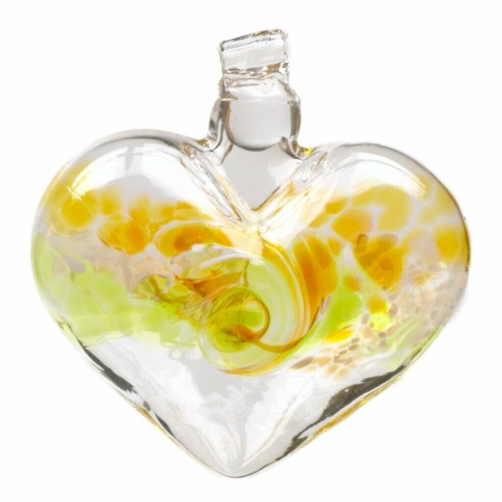 "3"" Van Glow Heart - Gold/Lime - Canadian Blown Glass"
