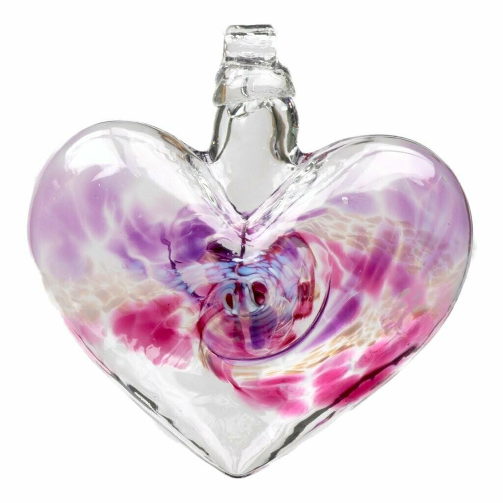 """3"""" Van Glow Heart - Purple/Pink - Canadian Blown Glass"""