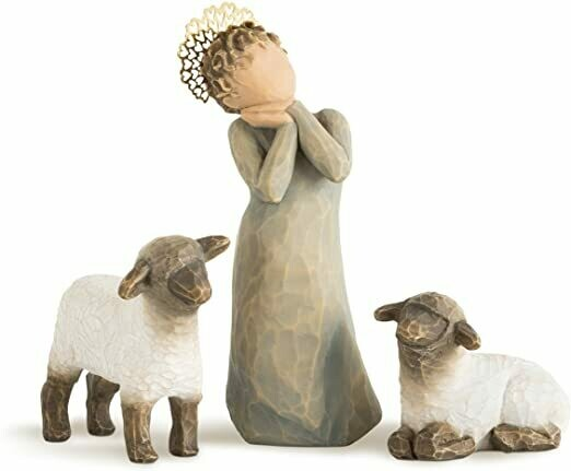 Willow Tree: Nativity Collection - Little Shepherdess - 3 piece set including 2 sheep