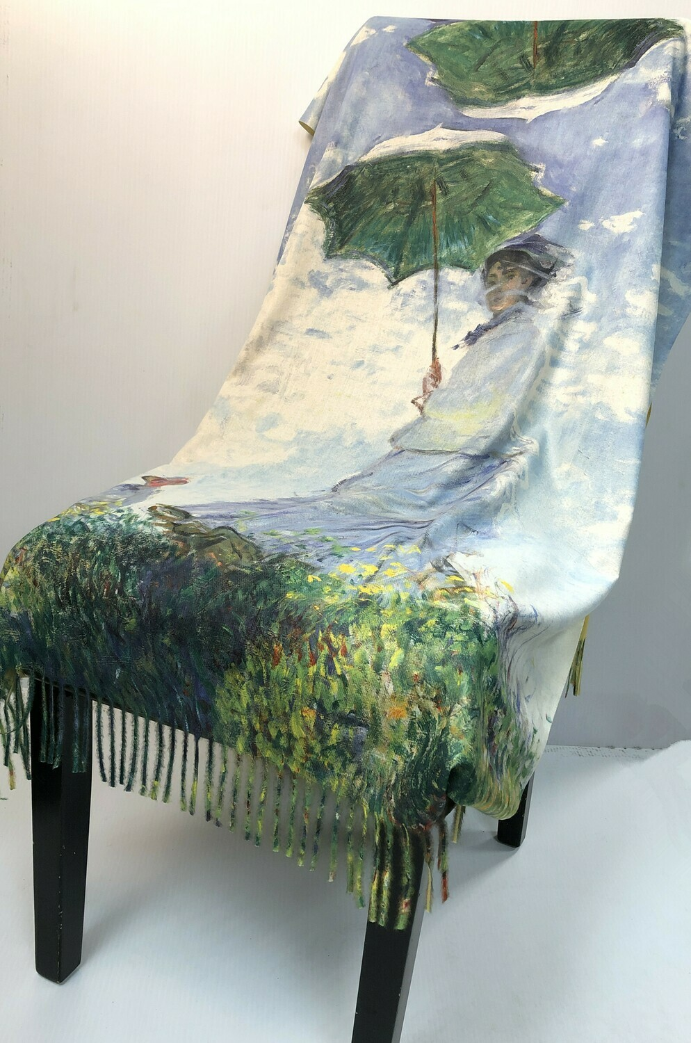 Oil Painting Scarf - soft feel wrap - Lady with Parasol, Monet