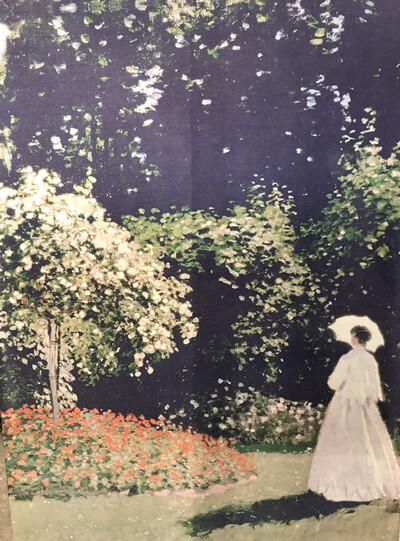 Oil Painting Scarf - 30% Seta Silk - Lady in Garden, Monet