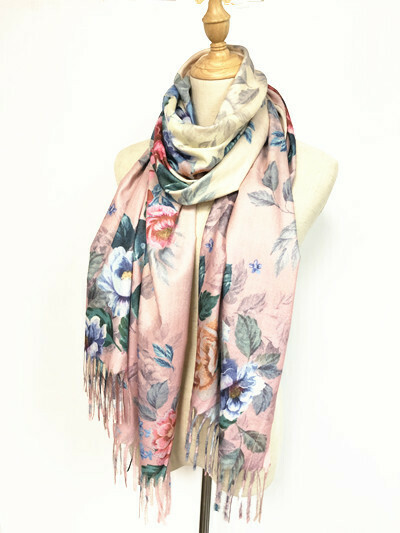 Oil Painting Scarf - soft feel wrap - Creamy Pink with Flowers