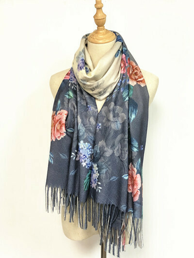 Oil Painting Scarf - soft feel wrap - Grey with Pink Roses
