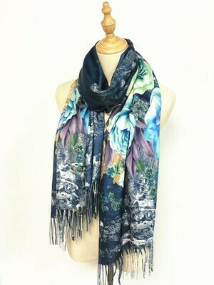Oil Painting Scarf - soft feel wrap - Blue Roses
