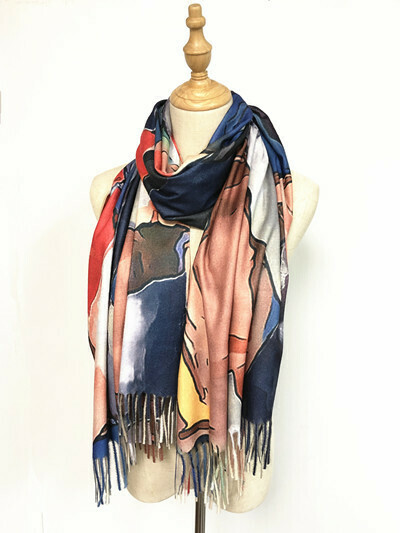 Oil Painting Scarf - soft feel wrap - Abstract