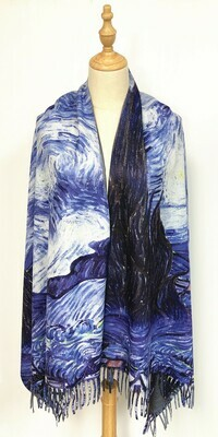 Oil Painting Scarf - soft feel wrap - Starry Night, Van Gogh