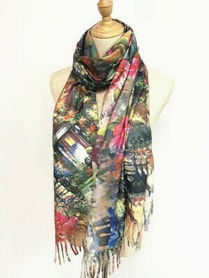 Oil Painting Scarf - soft feel wrap - House with Garden