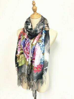 Oil Painting Scarf - soft feel wrap - Floral Design