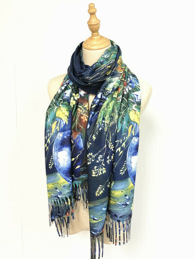 Oil Painting Scarf - soft feel wrap - Vase with Flowers