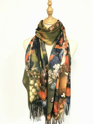 Oil Painting Scarf - soft feel wrap - Flowers and Fruit, Still Life