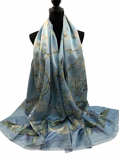 Oil Painting Scarf - 30% Seta Silk - Almond Blossoms Van Gogh