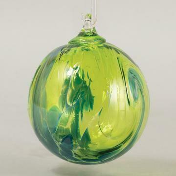 "3"" Glass Eye Studio - Aqua Wave - Friendship Ball - handblown in USA"