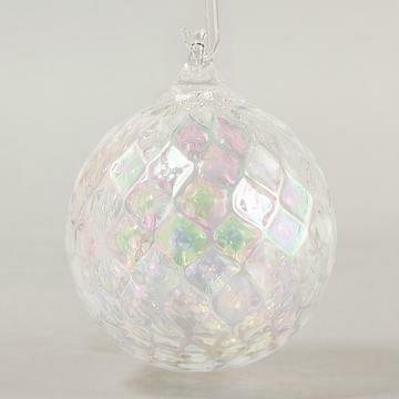 "3"" Glass Eye Studio - White Illusions - Friendship Ball - handblown in USA"