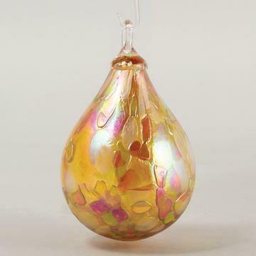 "3.5"" Glass Eye Studio - Dusty Gold - Raindrop Friendship Ball - handblown in USA"