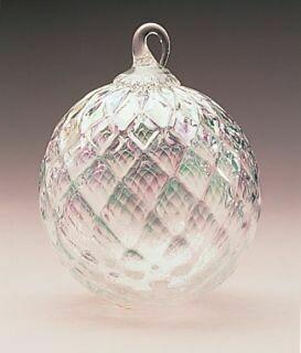 "3"" Glass Eye Studio - Clear Diamond - Friendship Ball - handblown in USA"
