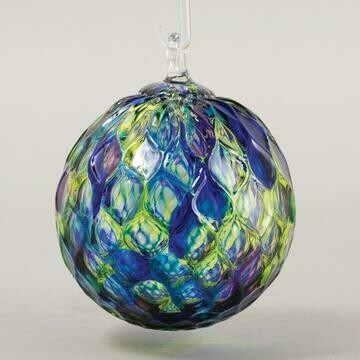 "3"" Glass Eye Studio - Blue Mosaic Diamond - Friendship Ball - handblown in USA"