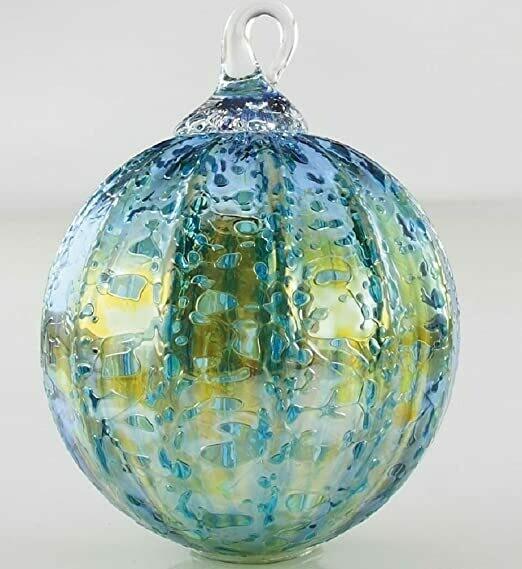 "3"" Glass Eye Studio - Teal Luster - Friendship Ball - handblown in USA"
