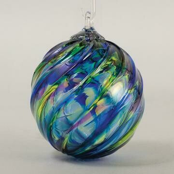 "3"" Glass Eye Studio - Blue Mosaic Twist - Friendship Ball, handblown in USA"