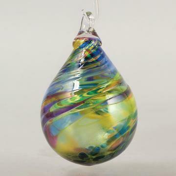 "3.5"" Glass Eye Studio - Chameleon - Raindrop Friendship Ball - handblown in USA"