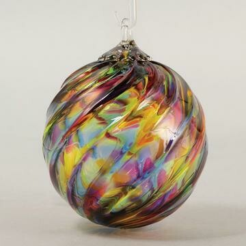 "3"" Glass Eye Studio - Rainbow Twist - Friendship Ball - handblown in USA"