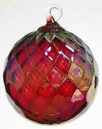"3"" Glass Eye Studio - Ruby Red Diamond - Friendship Ball - handblown in USA"