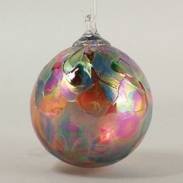 "3"" Glass Eye Studio - Rhubarb Mosaic - Friendship Ball - handblown in USA"