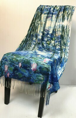 Oil Painting Scarf - soft feel wrap - Waterlilies