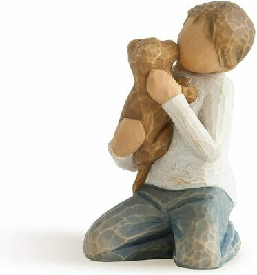 Willow Tree: Kindness Boy - Kneeling Holding Dog
