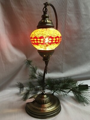 Mosaic Glass Table Lamp - Red / Orange Zig Zag