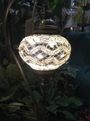 Mosaic Glass Table Lamp, White Silver Zig Zag pattern