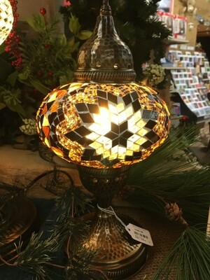 Mosaic Glass Table Lamp - Large - Brown / Rust Pinwheel