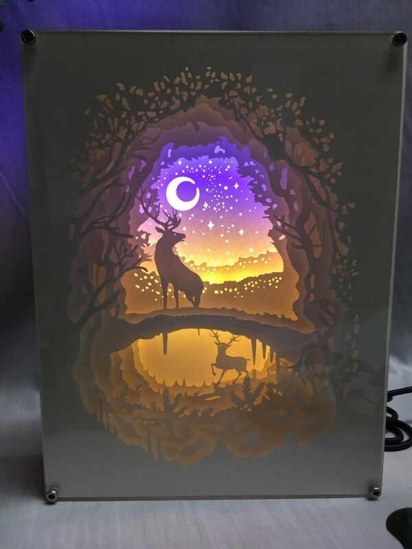 Can You See the Moon - Deer - Paper Art Led Light Box