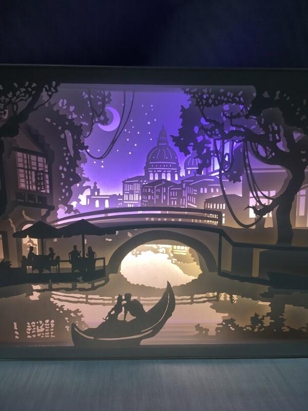 Love in Venice - Paper Art Led Light Box