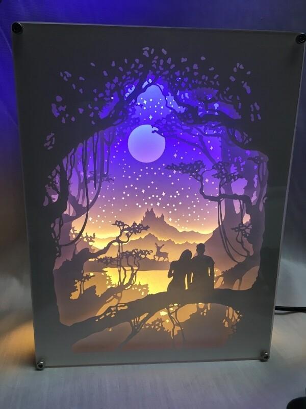 Moon Night - Paper Art Led Light Box