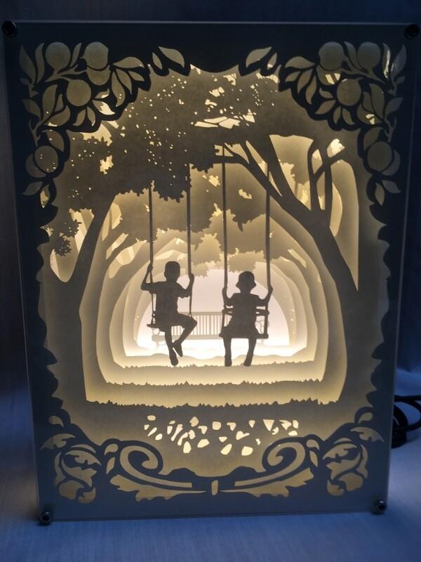 Childhood - Paper Art Led Light Box