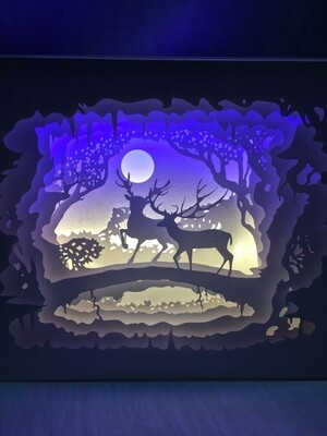Be With You - Deer in Forest - Paper Art Led Light Box