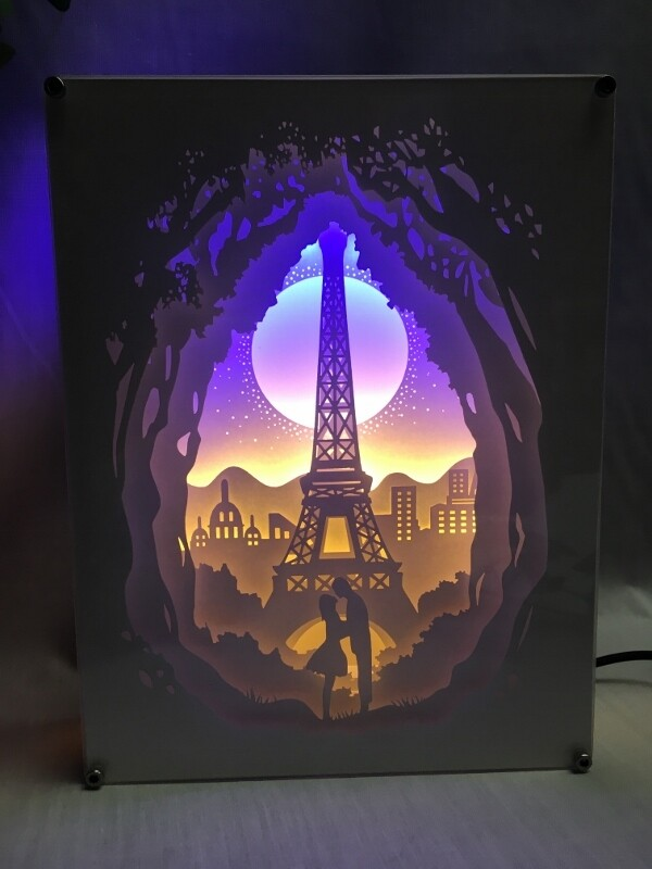 Love in Paris - Paper Art Led Light Box