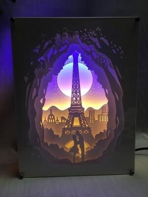 Love in Paris - Paper Art Led Light Box