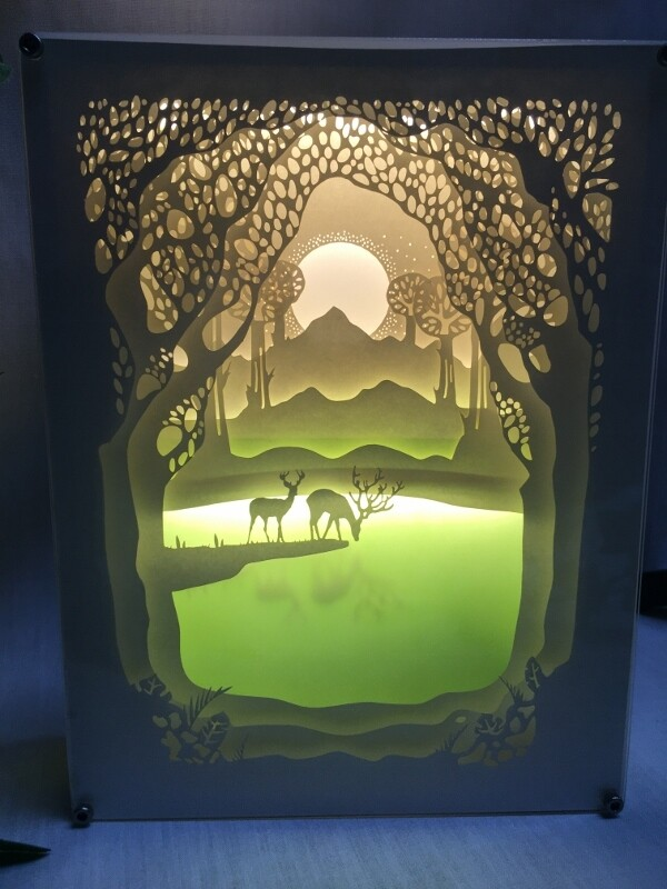 Sunset - Two Deer at Pond - Paper Art Led Light Box