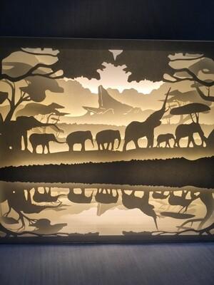 Thousands of Elephants - Paper Art Led Light Box