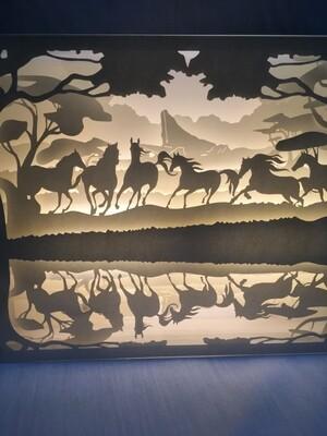 Thousands of Horses - Paper Art Led Light Box