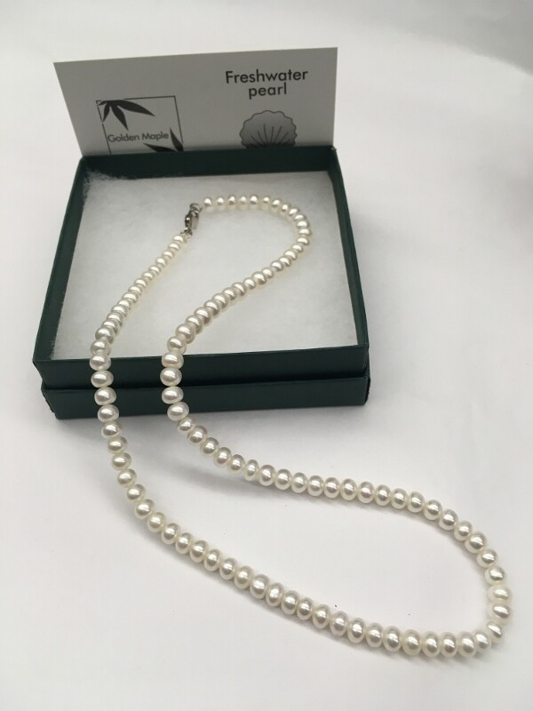 Freshwater Pearl Necklace - 18 inch Single Strand, White Pearls