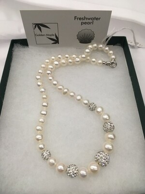 Freshwater Pearl Necklace with Crystal studded Beads -18 inch Single Strand, Graduated Size White Pearls