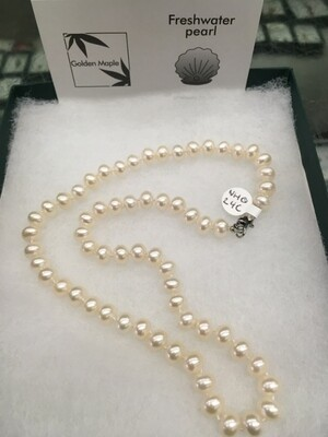 Freshwater Pearl Necklace - 18 inch Single Strand, Large White Pearls
